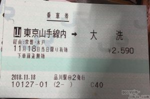 山手線内から大洗駅までの乗車券