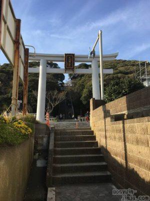 大洗磯前神社から海岸への道